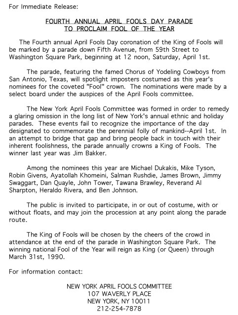 4th Annual April Fools' Day Parade press release, 1989