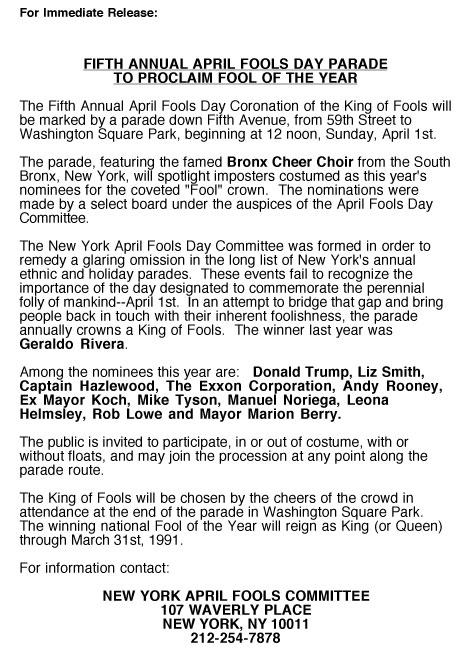 5th Annual April Fools' Day Parade press release, 1990