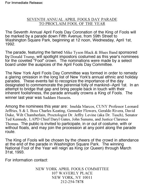 7th Annual April Fools' Day Parade press release, 1992