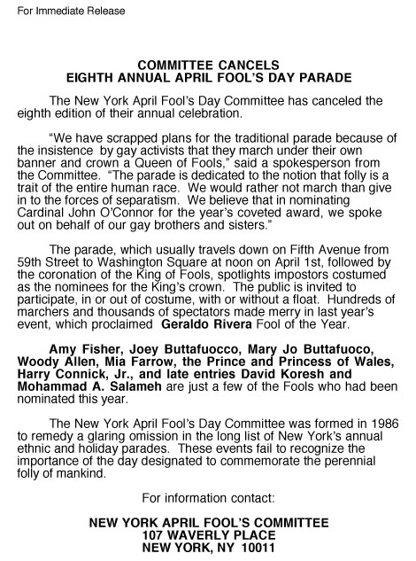 8th Annual April Fools' Day Parade press release, 1993