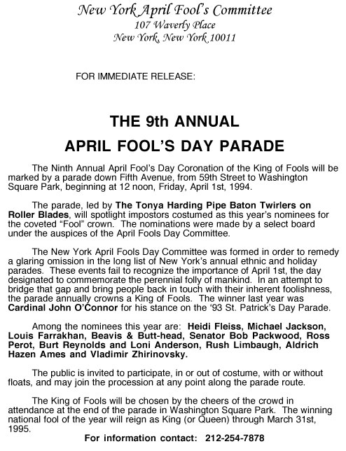 9th Annual April Fools' Day Parade press release, 1994