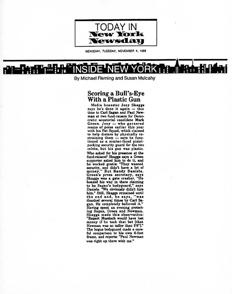 Inside New York: Scoring a Bull's-Eye with a Plastic Gun, by Michael Fleming & Susan Mulcahy, New York Newsday, November 4, 1986
