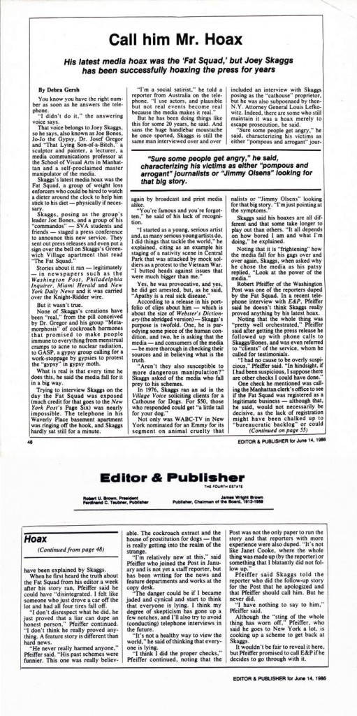 Call him Mr. Hoax, by Debra Gersh, Editor & Publisher, June 14, 1986