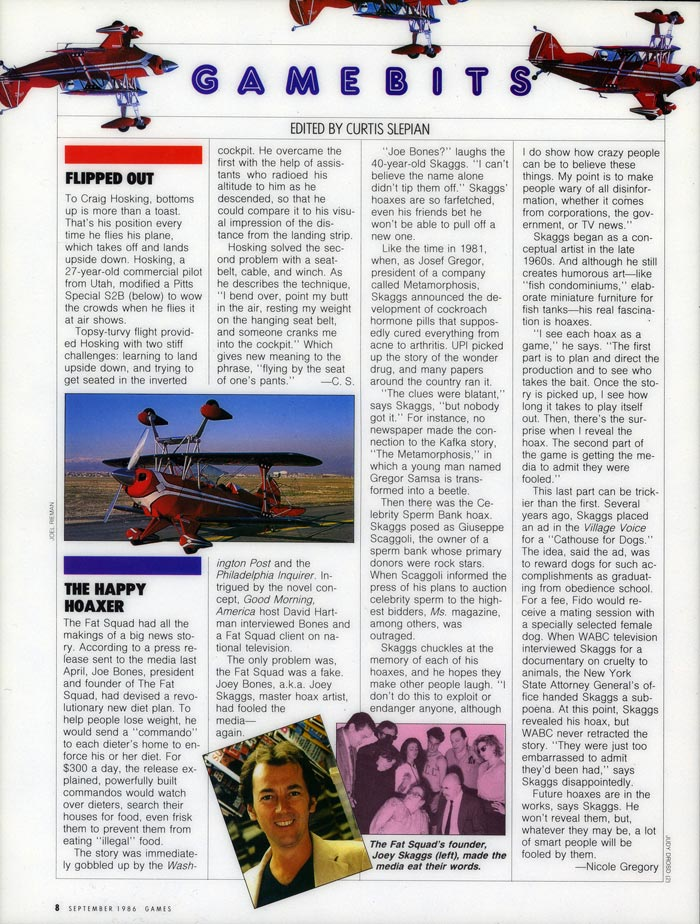 The Happy Hoaxer, Games magazine, September 1986