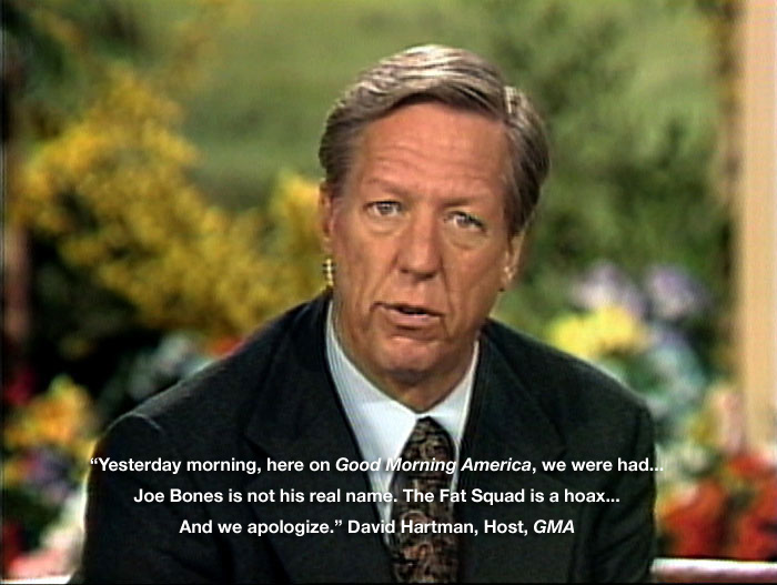 David Hartman apologizes on Good Morning America for falling for the Fat Squad hoax