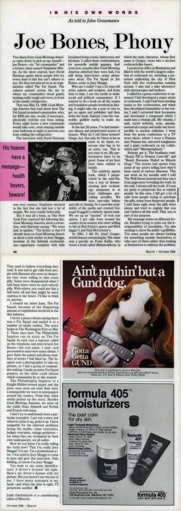 Joe Bones, Phony, Health magazine, October 1986