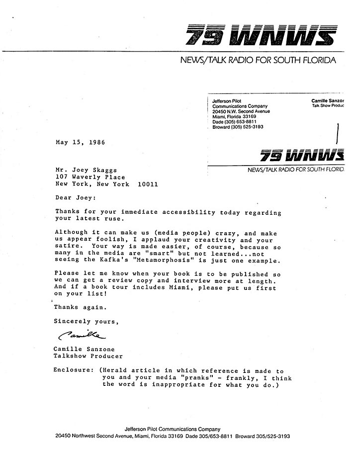Letter from Camille Sanzone, Talkshow Producer, 79 WNWS Radio, South Florida, May, 15, 1986