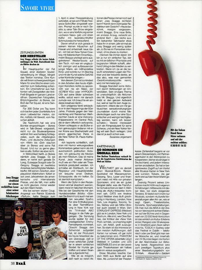 Savoir Vivre: Zeitung-enten Der Hersteller, Lui magazine, Germany