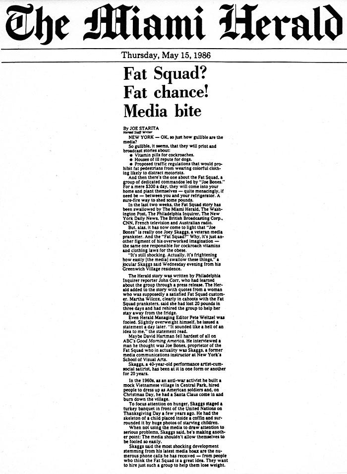 Fat Squad? Fat chance! Media bite, by Joe Starita, The Miami Herald, May 15, 1986