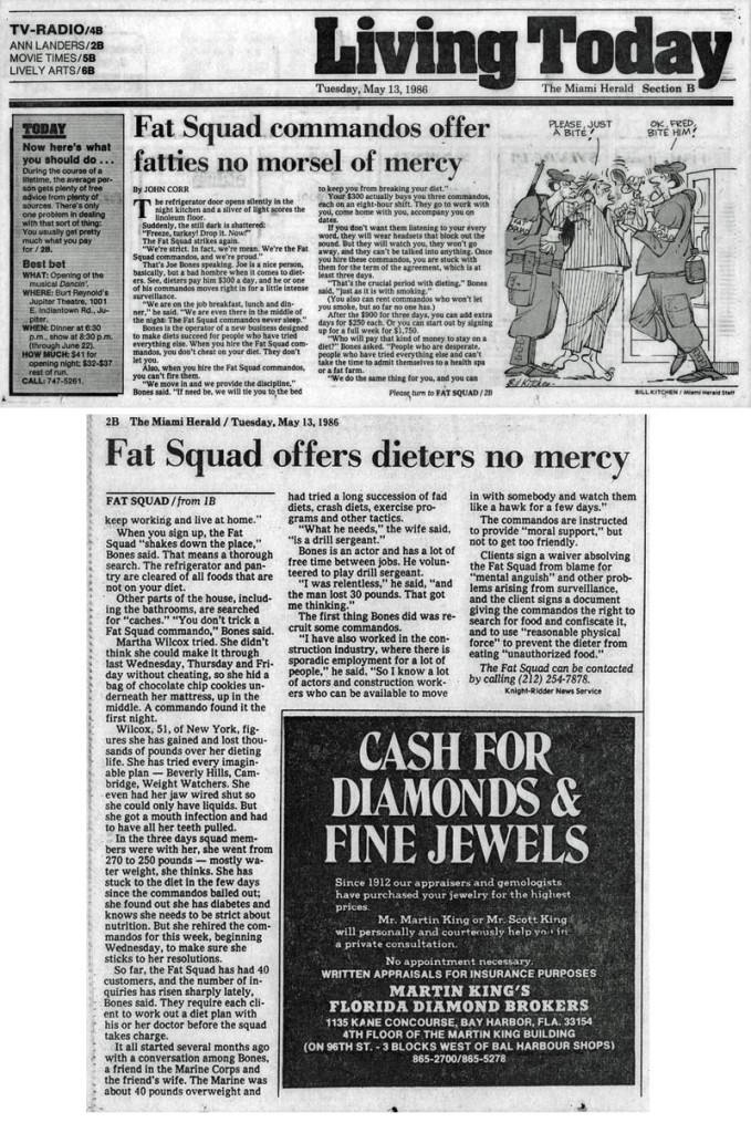Fat Squad commandos offer fatties no morsel of mercy, by John Corr, Miami Herald, May 13, 1986