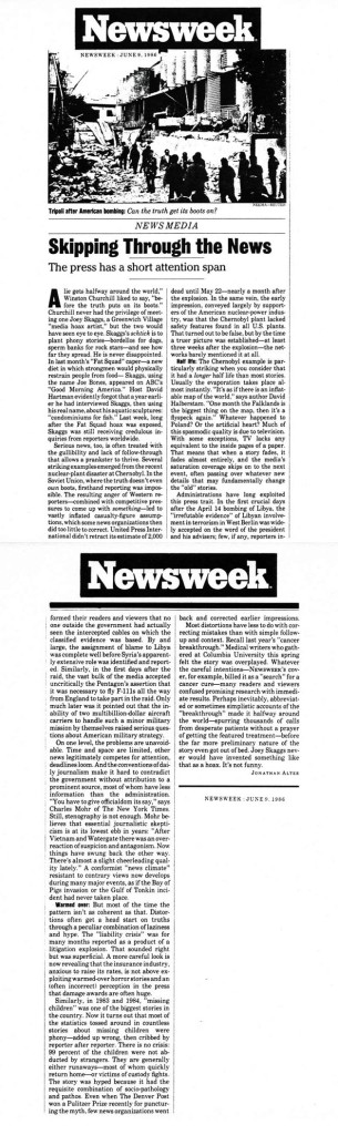 News Media: Skipping Through the News, by Jonathan Alter, Newsweek, June 9, 1986