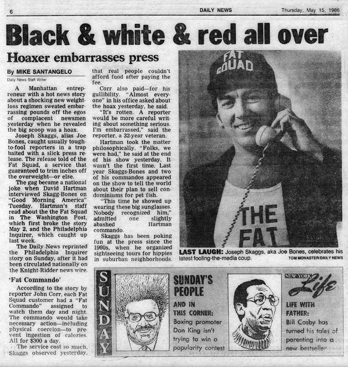 Black & white & red all over, by Mike Santangelo, Daily News, May 15, 1986