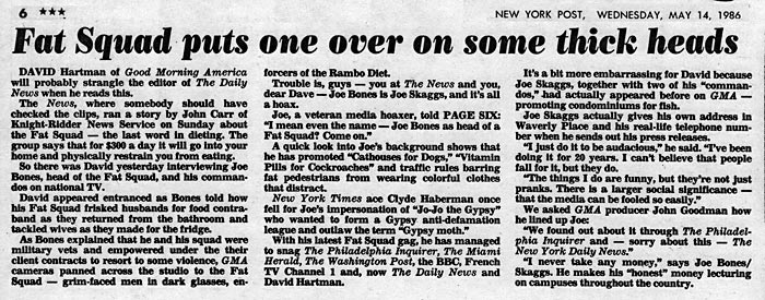 Page Six: Fat Squad puts one over on some thick heads, New York Post, May 14, 1986