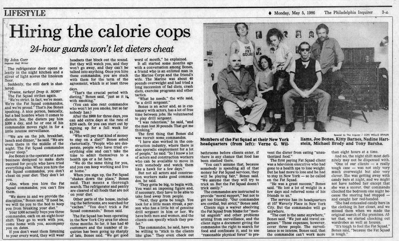 Hiring the calorie cops, by John Corr, Philadelphia Inquirer, May 5, 1986
