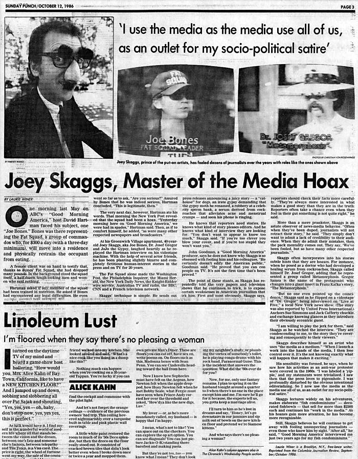 Joey Skaggs, Master of the Media Hoax, by Laurie Winer, San Francisco Examiner, October 12, 1986