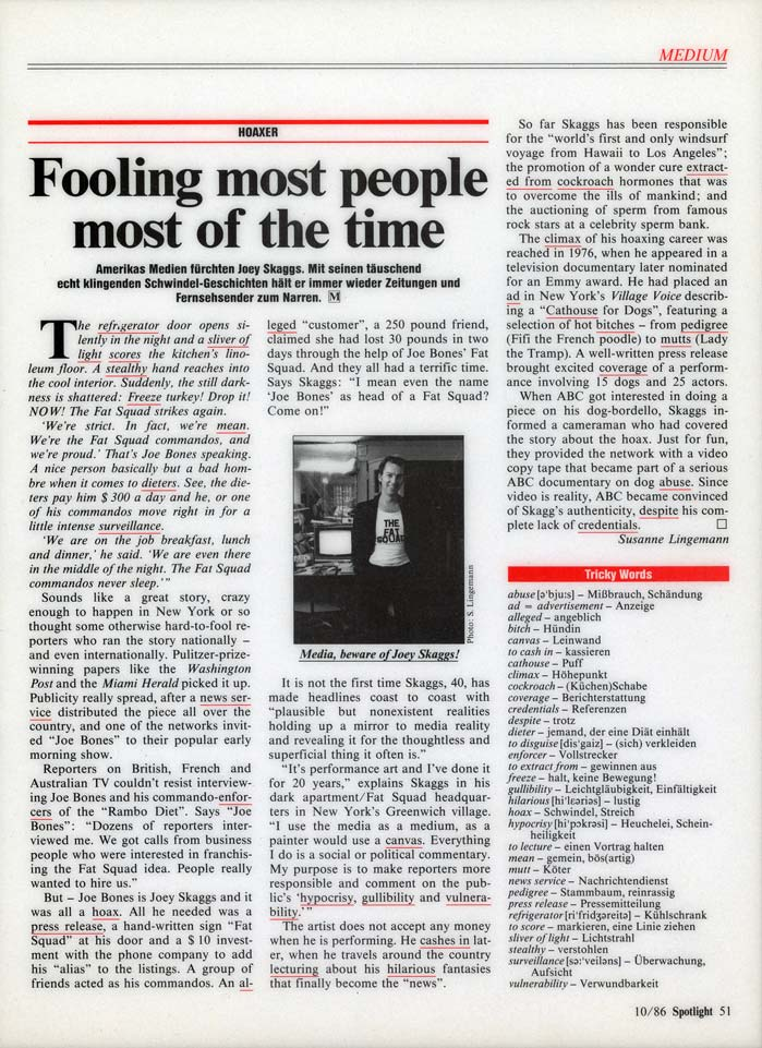 Fooling most people most of the time, by Susanne Lingemann, Spotlight, October 1986