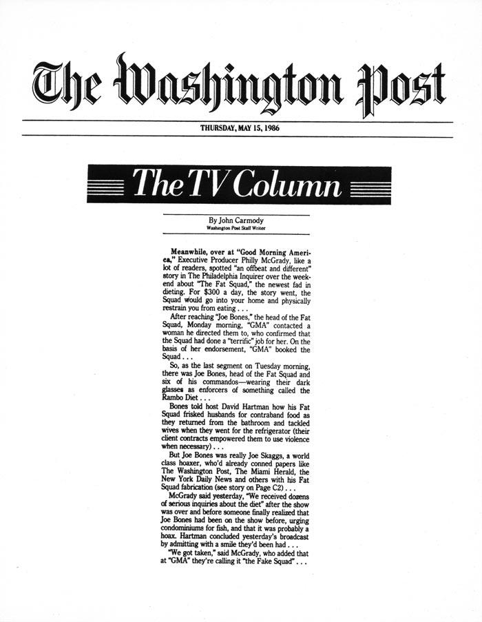 The TV Column, by John Carmody, The Washington Post, May 15, 1986