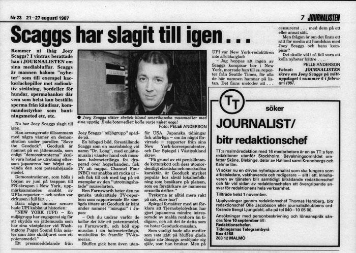 Scaggs har slagit till igen..., Journalisten (Sweden), August 21, 1987
