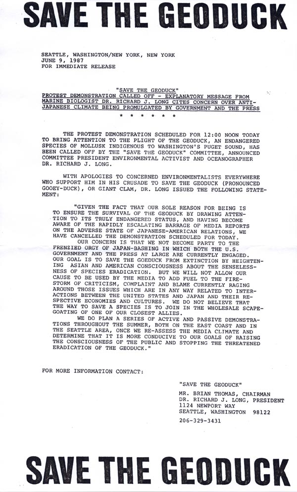 """Save the Geoduck"" press release announcing cancellation of the New York protest , June 9, 1987"