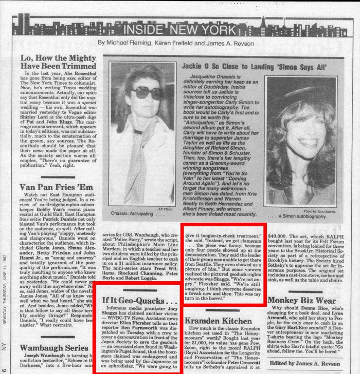 If It Geo-Quacks..., New York Newsday, June 11, 1987