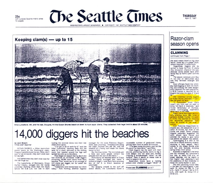 "Seattle Times article sent with the ""Save the Geoduck"" press release to the media underscoring community concerns about local shellfish"