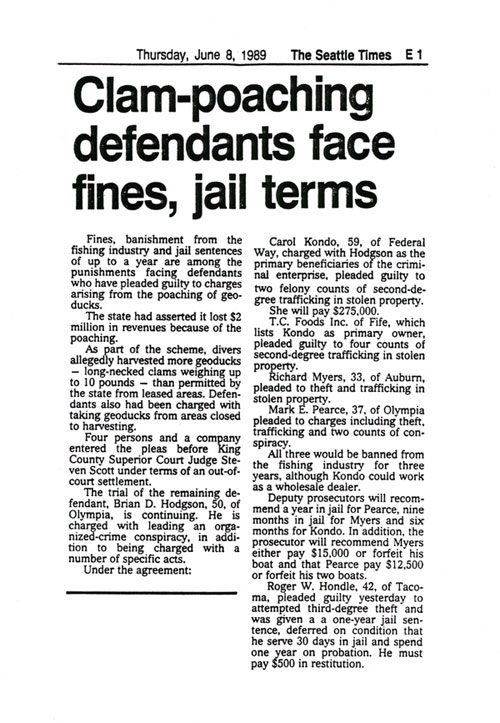 Clam-poaching defendants face fines, jail terms, June 8, 1989