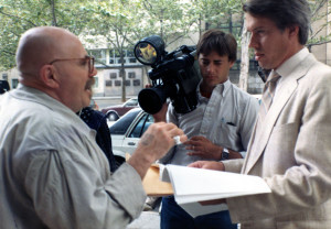 Verne Williams speaks interviewd by Ben Farnsworth, WNBC, during the Save the Geoduck hoax, 1987