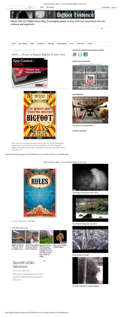 Hmmm... Circus to Display Bigfoot in New York, Bigfoot Evidence, May 28, 2014