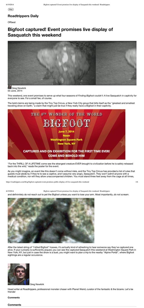 Bigfoot captured! Event promises live display of Sasquatch this weekend, Roadtrippers, June 3, 2014