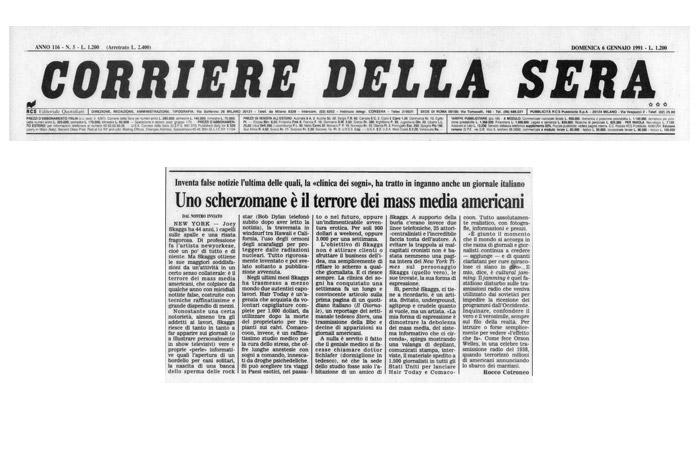 Uno scherzonmane è il terrore dei mass media americani, by Rocco Cotroneo, Corriere Della Sera, January 6, 1991