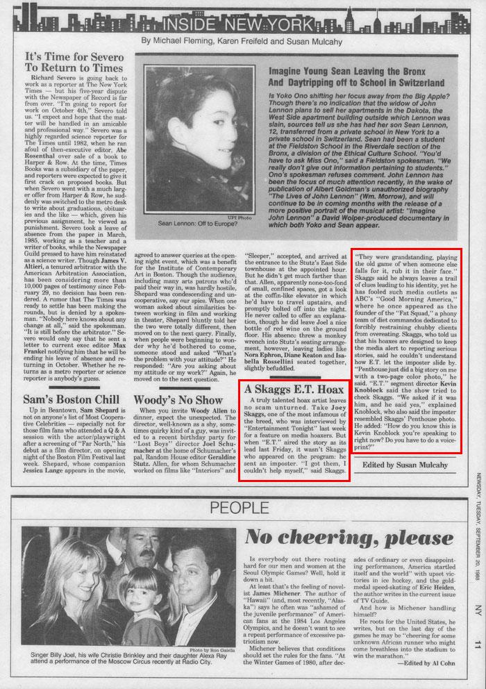 A Skaggs E.T. Hoax, Edited by Susan Mulcahy, New York Newsday, September 20, 1988