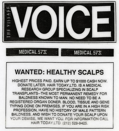 Hair Today Ltd. Ad, The Village Voice