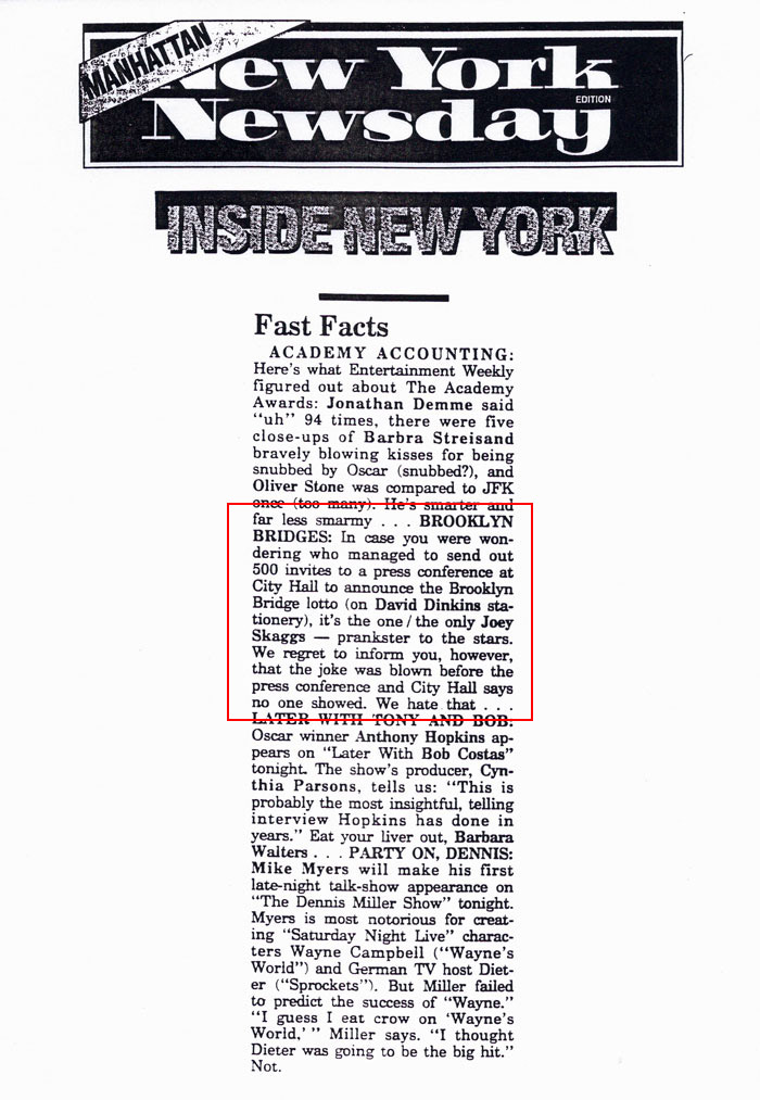 Fast Facts, Inside New York, New York Newsday, April, 1992