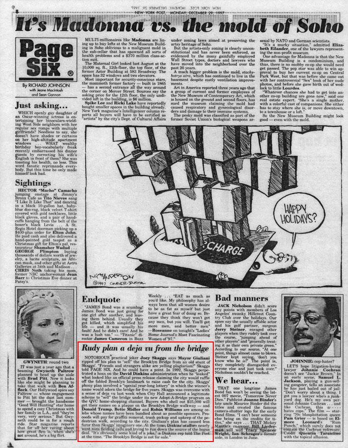 Rudy plan a deja vu from the bridge, by Richard Johnson, Page Six, New York Post, December 29, 1997