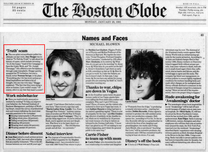 'Truth' scam, by Michael Blowen, The Boston Globe, January 28, 1991