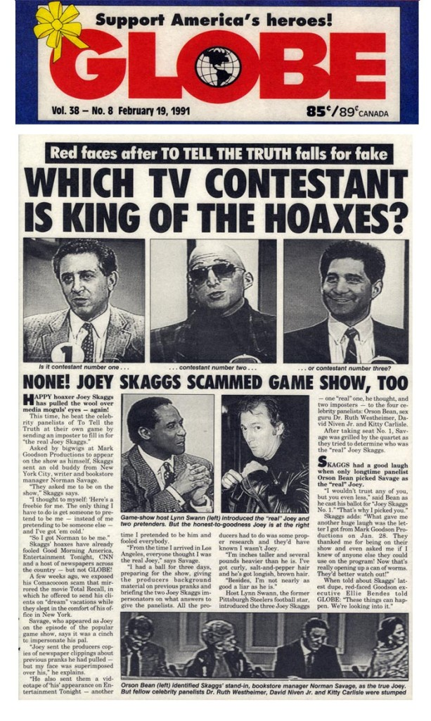 Which TV Contestant is King of the Hoaxes? Globe, February 19, 1991