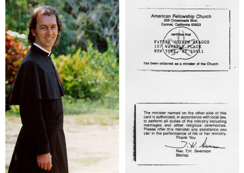 Father Joseph (aka Joey Skaggs) and his credentials