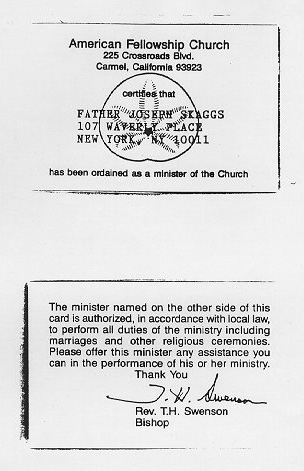 Joey Skaggs' priest credentials from the American Fellowship Church