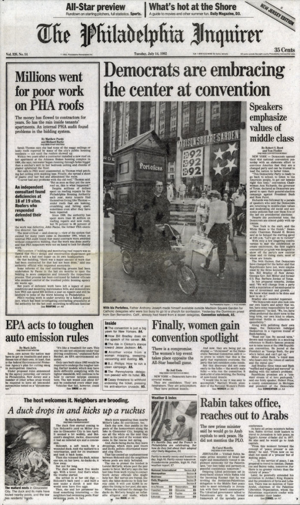 Democrats are embracing center at convention, Philadelphia Inquirer, July 14, 1992
