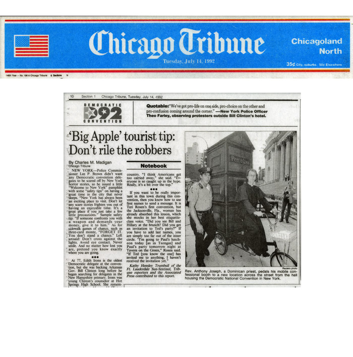 'Big Apple' tourist tip: Don't rile the robbers, Chicago Tribune, July 14, 1992