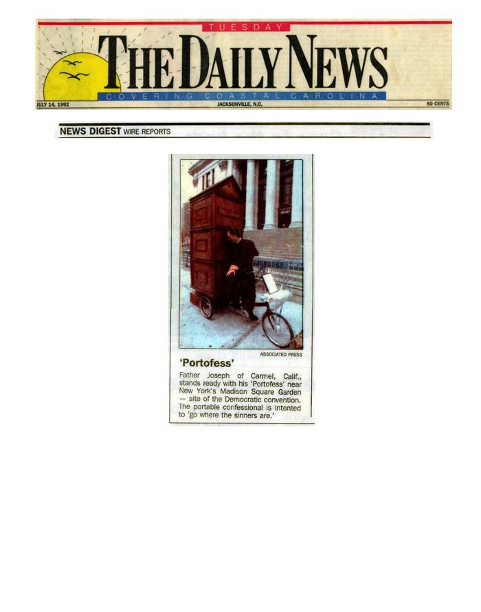 'Portofess', The Daily News (Coastal Carolina), July 14, 1992