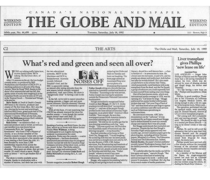 ses Off: What's Red and Green and seen all over?, Globe and Mail, July 18, 1992