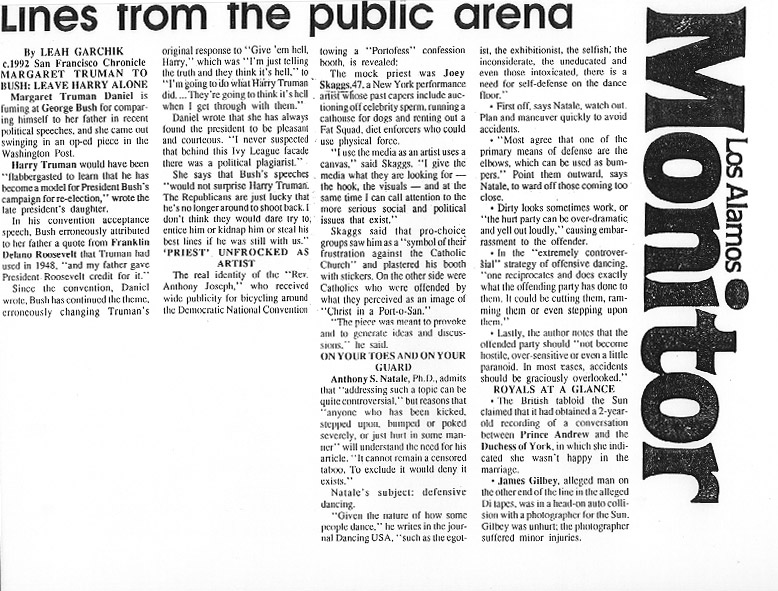 Lines from the public arena, Los Alamos Monitor, July 1992