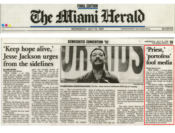 'Priest', 'Portofess' fool public, Miami Herald, July 7, 1992