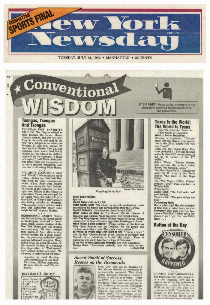 Conventional Wisdom: Forgiving On the Run, New York Newsday, July 14, 1992