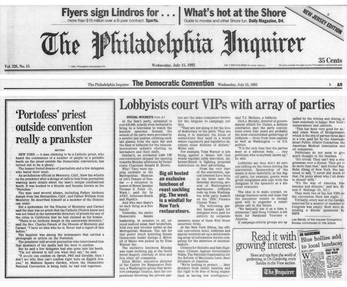 'Portofess' priest outside convention really a prankster, Philadelphia Inquirer, July 15, 1992