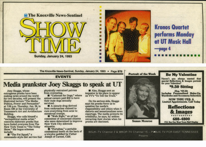 Media Prankster Joey Skaggs to speak at UT, The Knoxville News-Sentinel, January 24, 1993