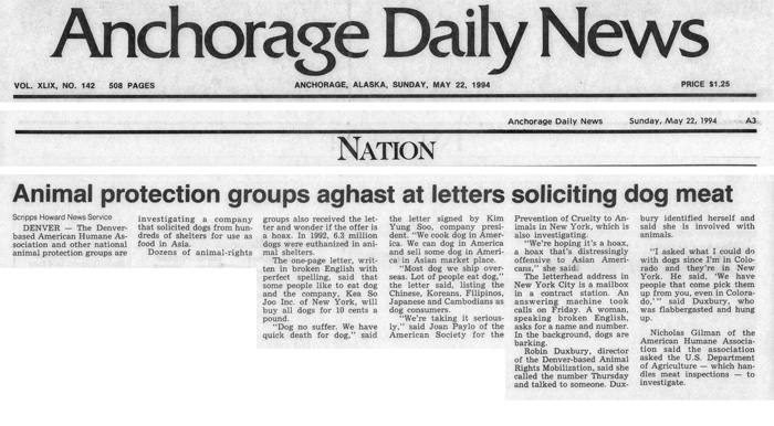 Animal protection groups aghast at letters soliciting dog meat, Anchorage Daily News, May 22, 1994