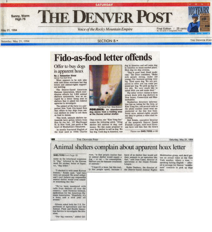 Fido-as-food letter offends, The Denver Post, May 21, 1994