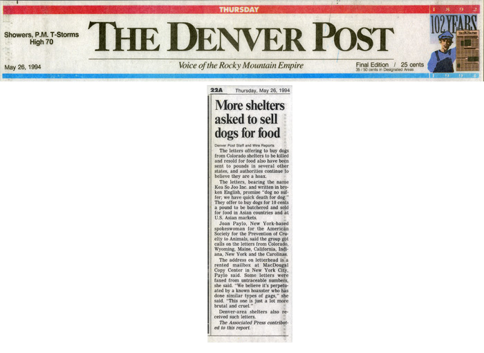 More shelters asked to sell dogs for food, The Denver Post, May 26, 1994